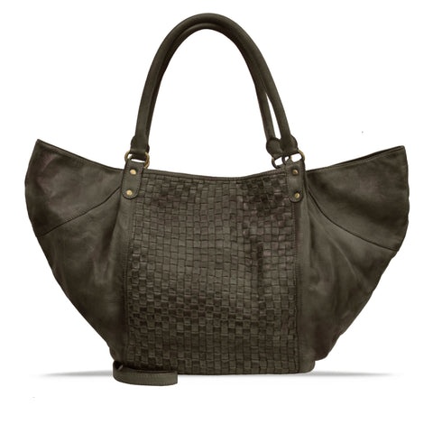 Shitake Washed Woven Leather Handbag - RAW025