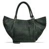 Dark Seaweed Washed Woven Leather Handbag - RAW025