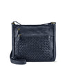 Dark Navy Washed Leather Zippered Crossbody/Shoulder Bag - RAW026