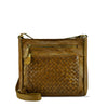 Sepia Washed Leather Zippered Crossbody/Shoulder Bag - RAW026