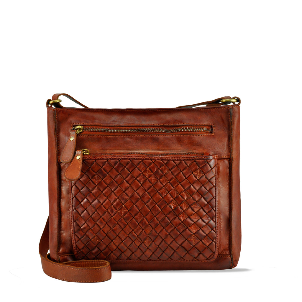 Summer Tan Washed Leather Zippered Crossbody/Shoulder Bag - RAW026