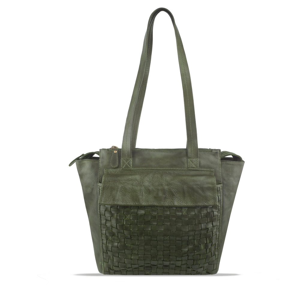 Turtle Green Wasshed Woven Leather Shoulder Bag - RAW027