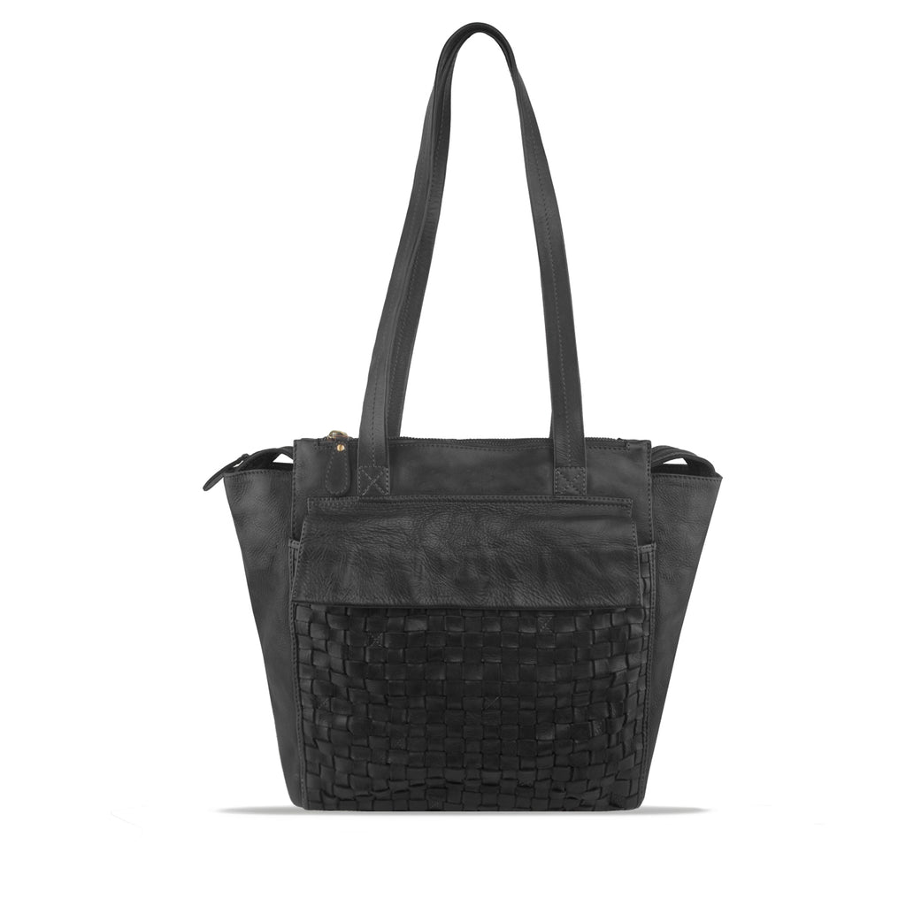 Peppercorn Washed Woven Leather Shoulder Bag - RAW027