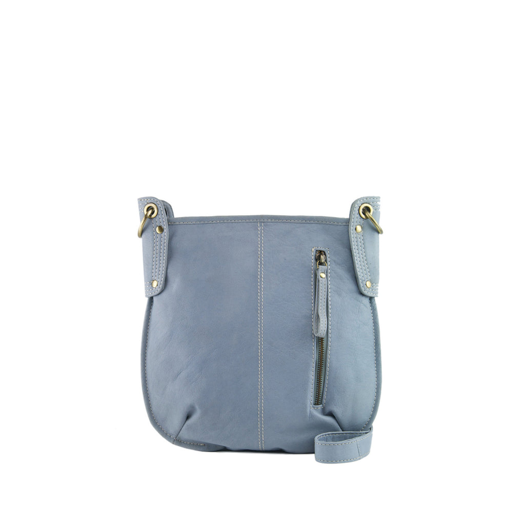 Light Blue Leather Crossbody - A132