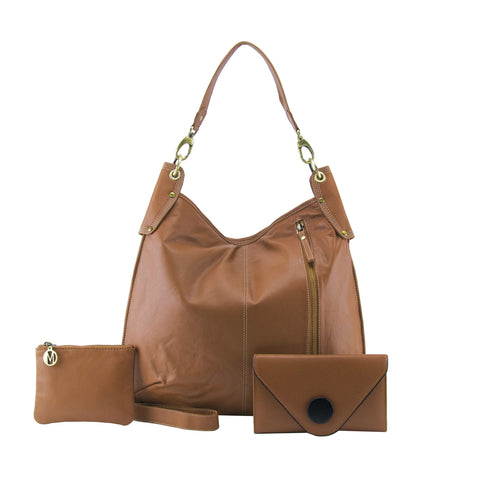 Tan 3 Piece Leather Handbag Set - A133Pack
