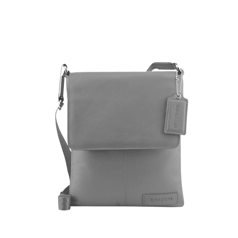 Grey Leather Crossbody - A191