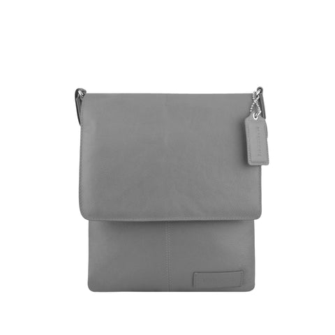 Grey Leather Crossbody - A192