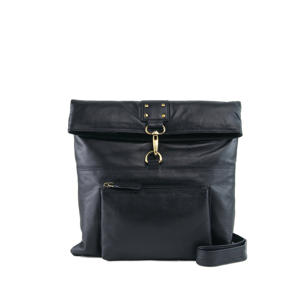 Black Leather Crossbody - A202
