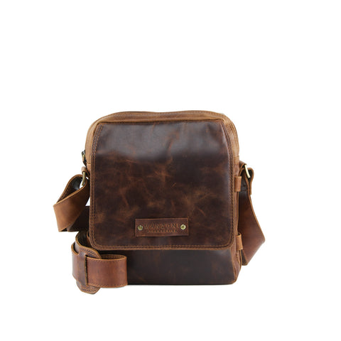 Tan Distressed Leather Crossbody - A205