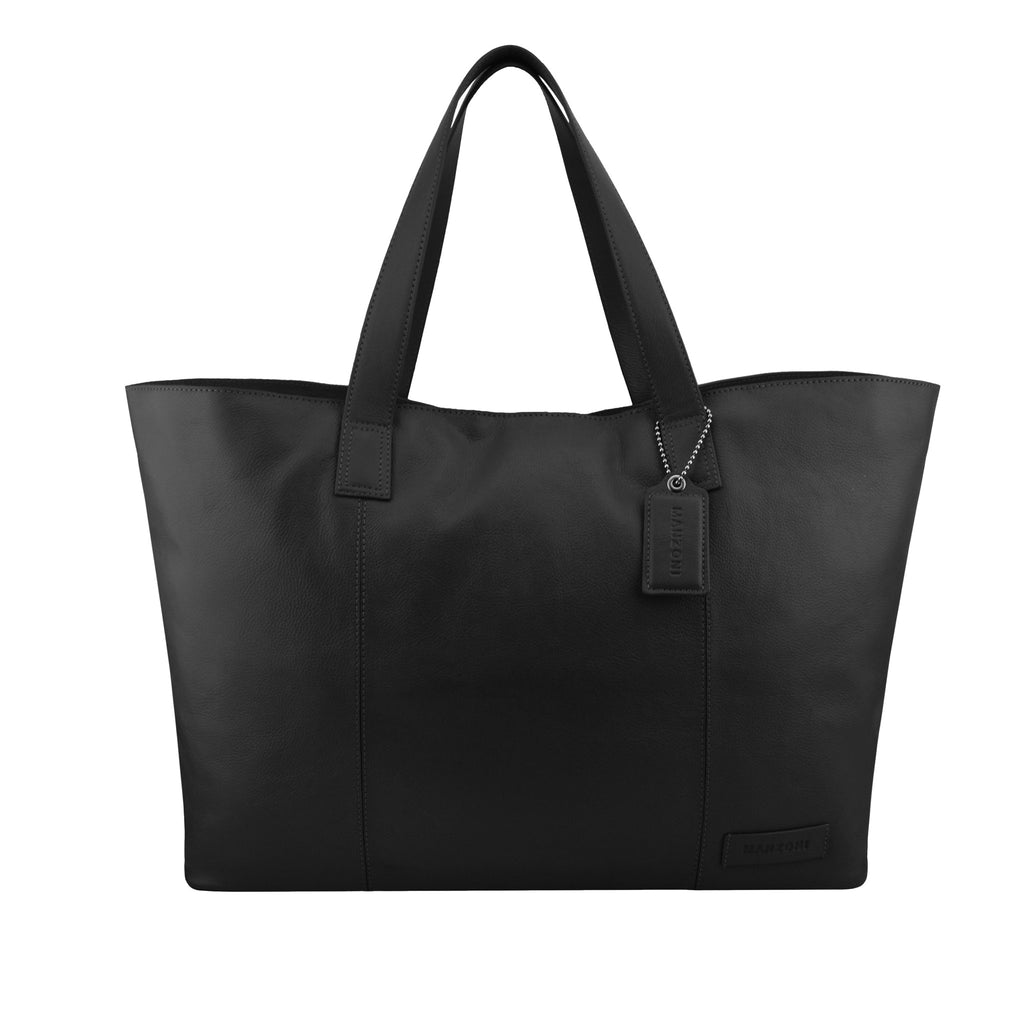 Black Oversized Leather Tote - A219
