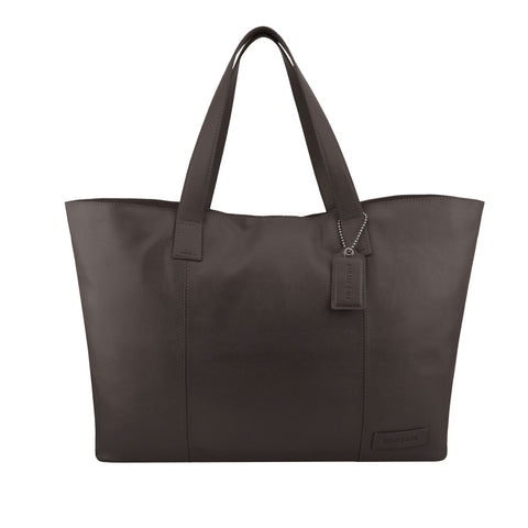 Brown Oversized Leather Tote - A219