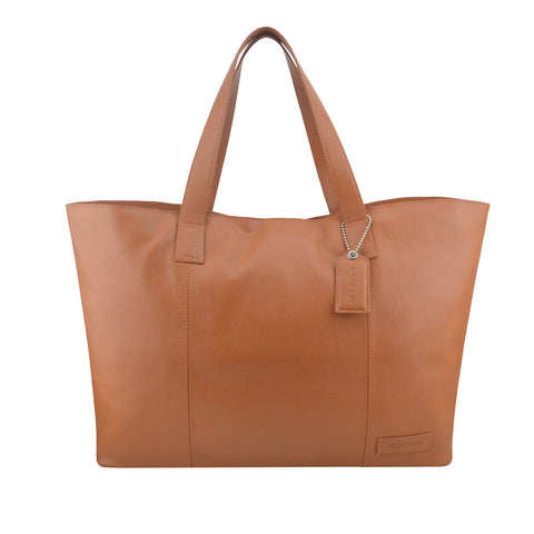 Tan Oversized Leather Tote - A219