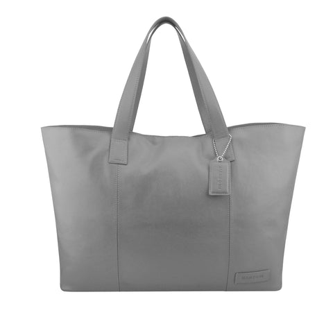 Grey Oversized Leather Tote - A219