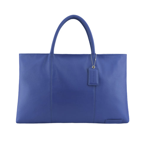 Navy Leather Folio Tote - A399