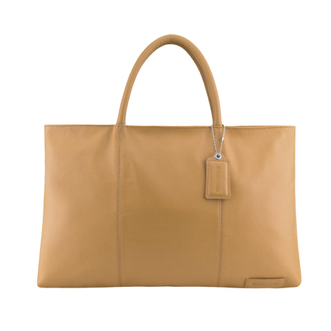Camel Leather Folio Tote - A399