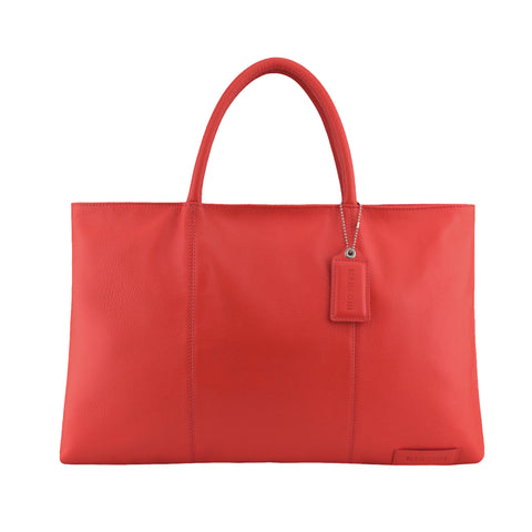 Red Leather Folio Tote - A399