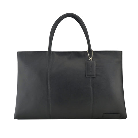 Black Leather Folio Tote - A399