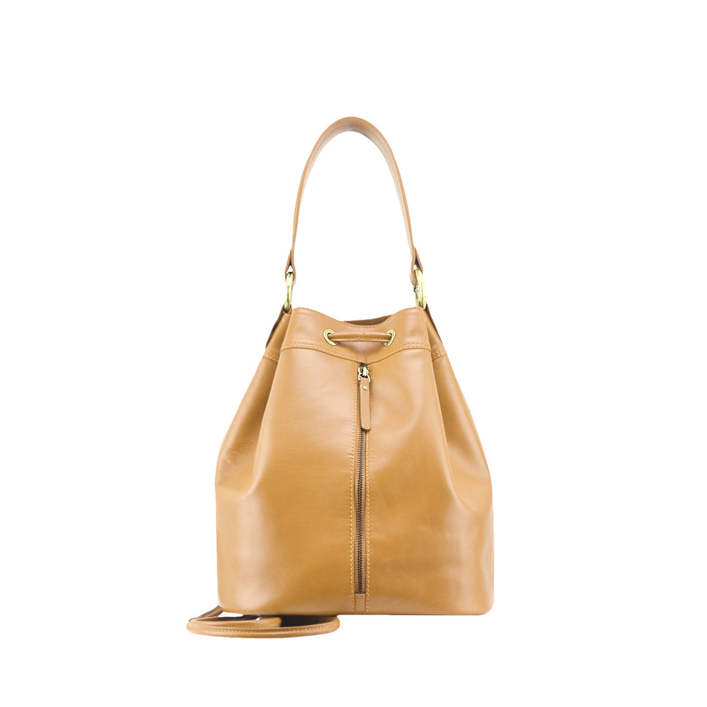 Camel Nappa Leather Backpack - N697