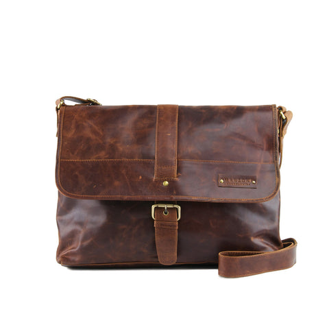 Tan Distressed Leather Messenger - F164