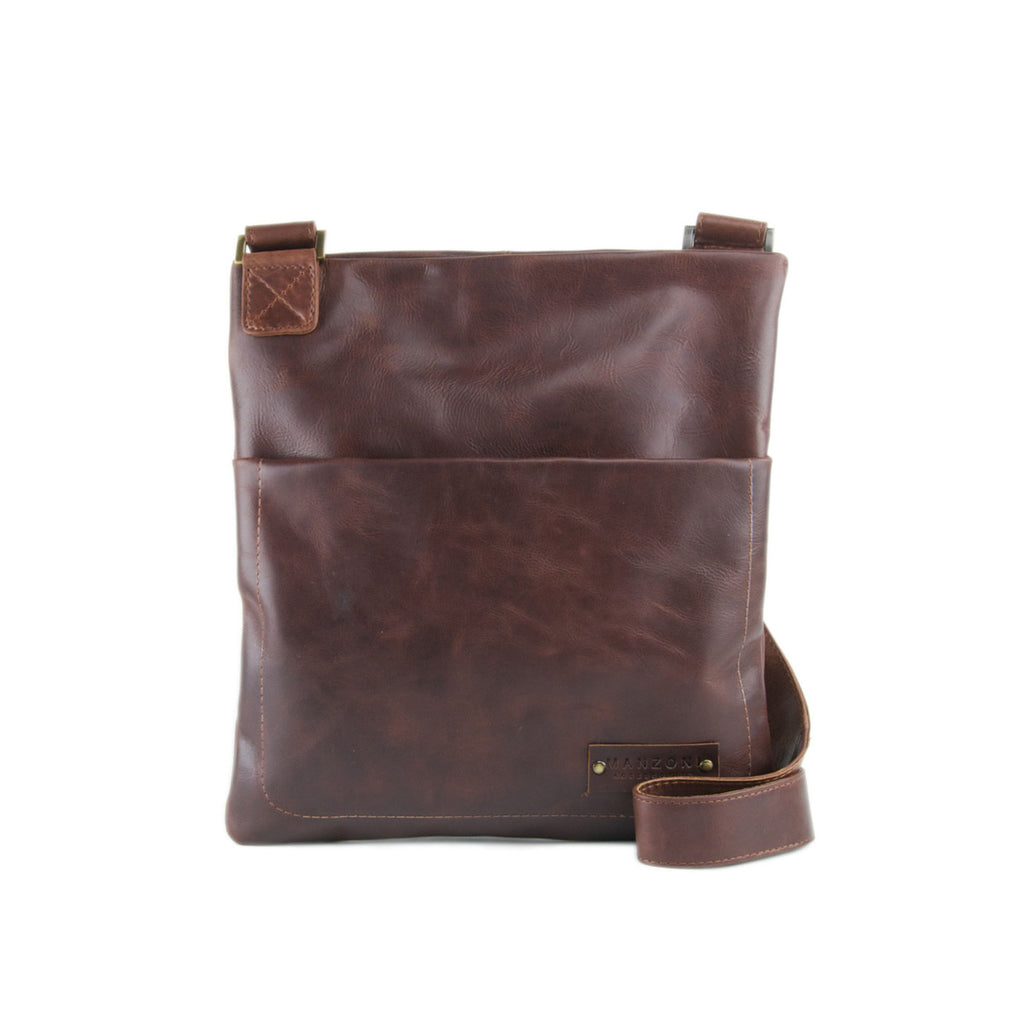 Tan Distressed Leather Messenger - F165