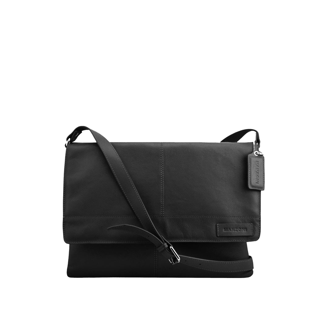 Black Leather Messenger - F184