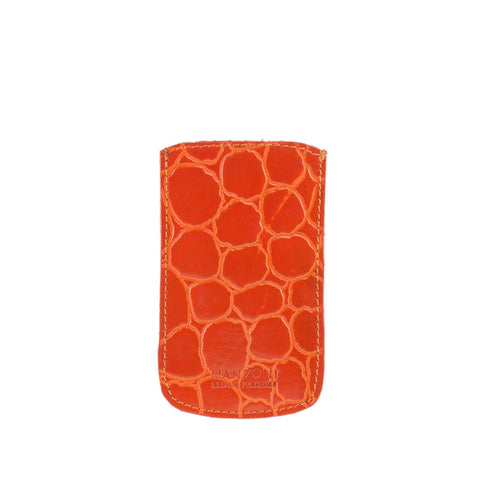 Orange Croc Print Leather iPhone Holder - IP14C