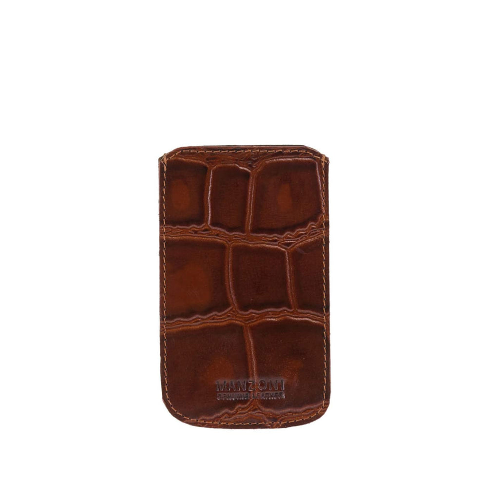 Tan Croc Print Leather iPhone Holder - IP14C