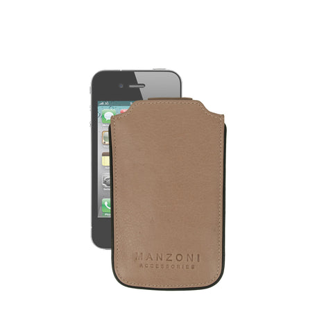 Black and Camel Leather iPhone Holder - IP6