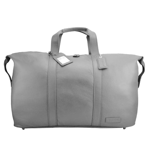 Grey Leather Weekend Travel Bag - L14