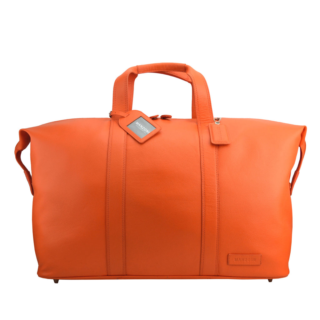 Orange Leather Weekend Travel Bag - L14