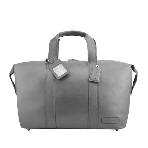 Grey Leather Overnighter - L4