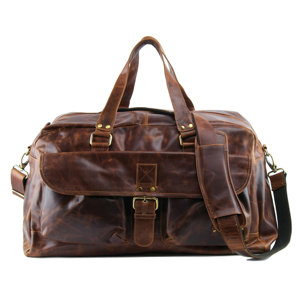 Tan Distressed Leather Holdall - L67
