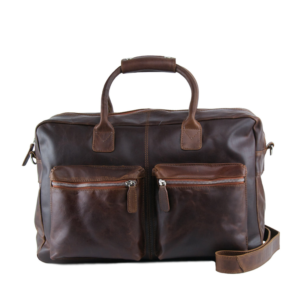 Tan Distressed Leather Holdall - L75