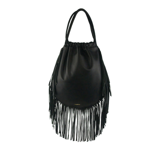Black Fringe Drawstring Backpack - MA047