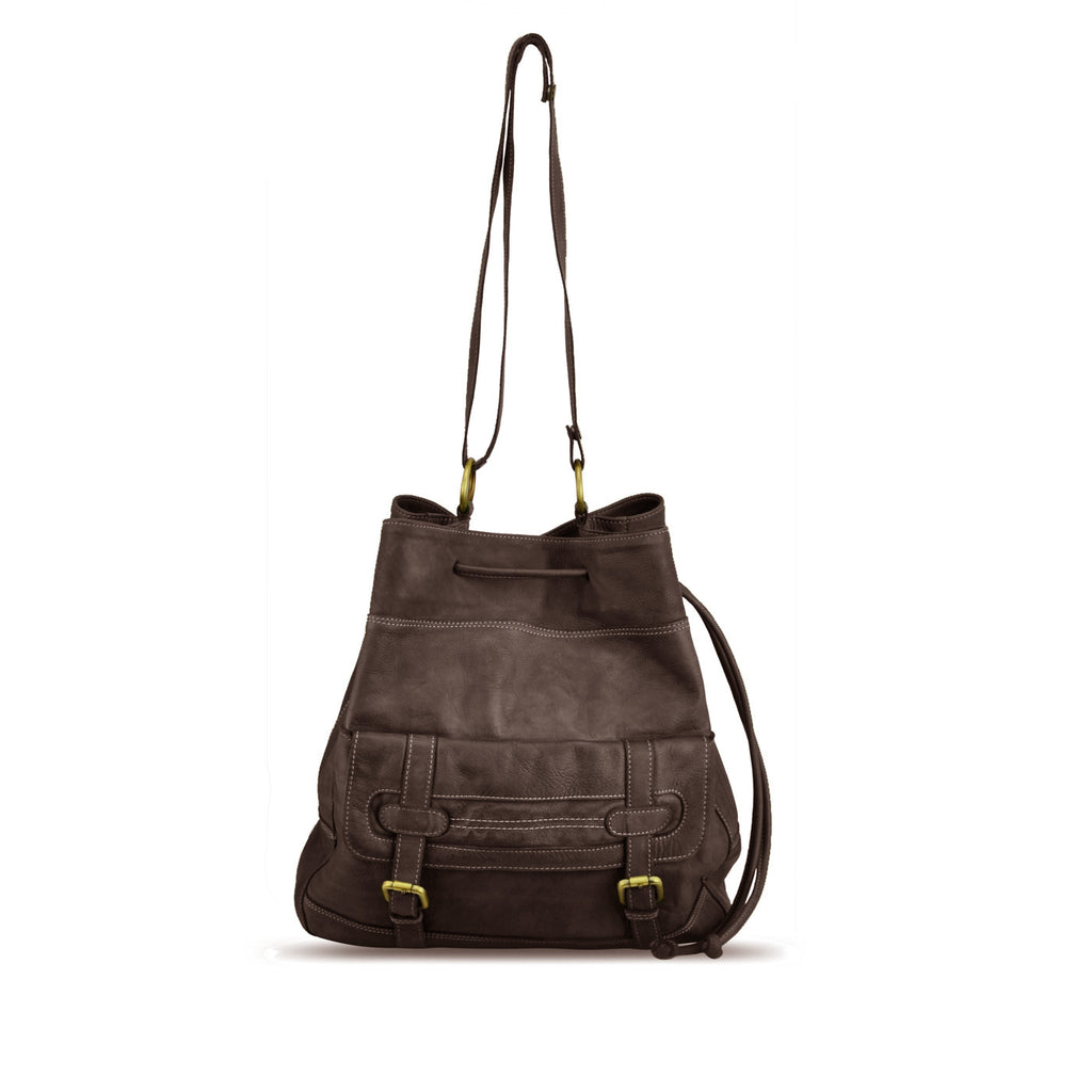 Brown Mahogany Washed Shoulder Bag - RAW004
