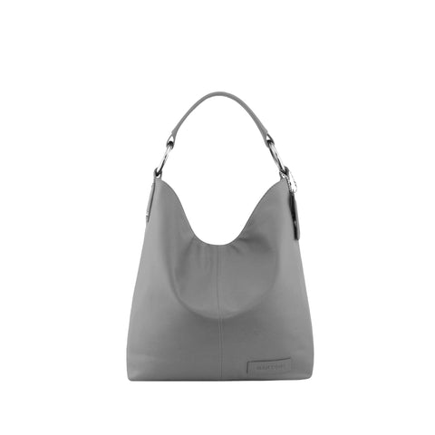 Grey Leather Shoulder Bag - N11