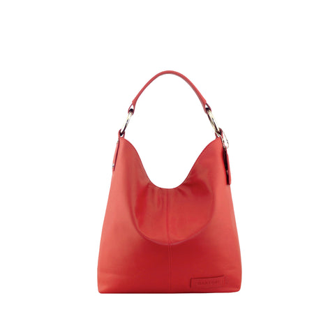 Red Leather Shoulder Bag - N11