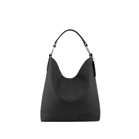 Black Leather Shoulder Bag - N11