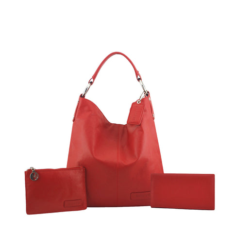 Red 3 Piece Leather Handbag Set - N11Pack