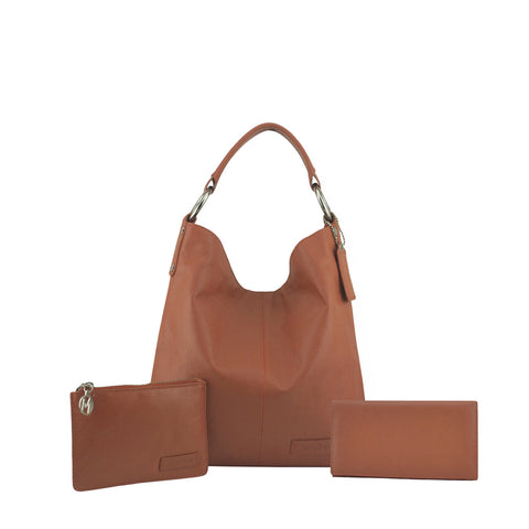 Tan 3 Piece Leather Handbag Set - N11Pack