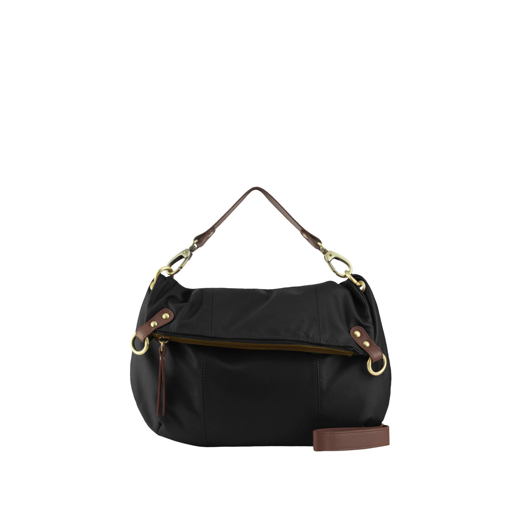 Black Leather Shoulder Bag / Crossbody - N561