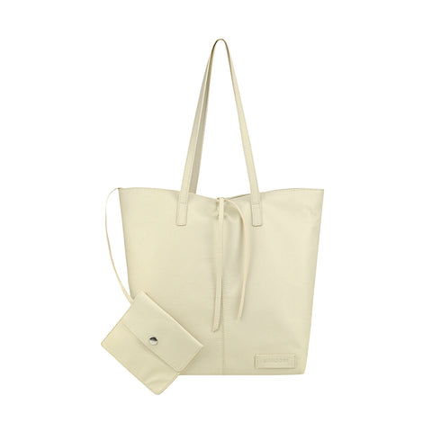 Ivory Leather Tote - N578