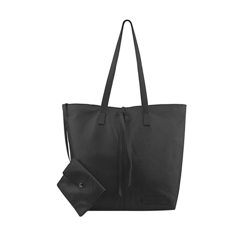 Black Leather Tote - N578