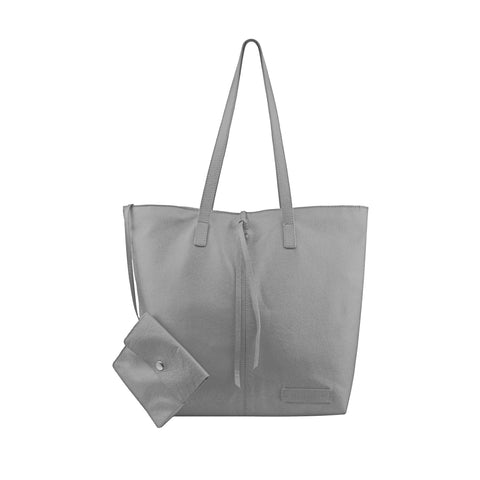Grey Leather Tote - N578