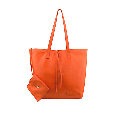 Orange Leather Tote - N578