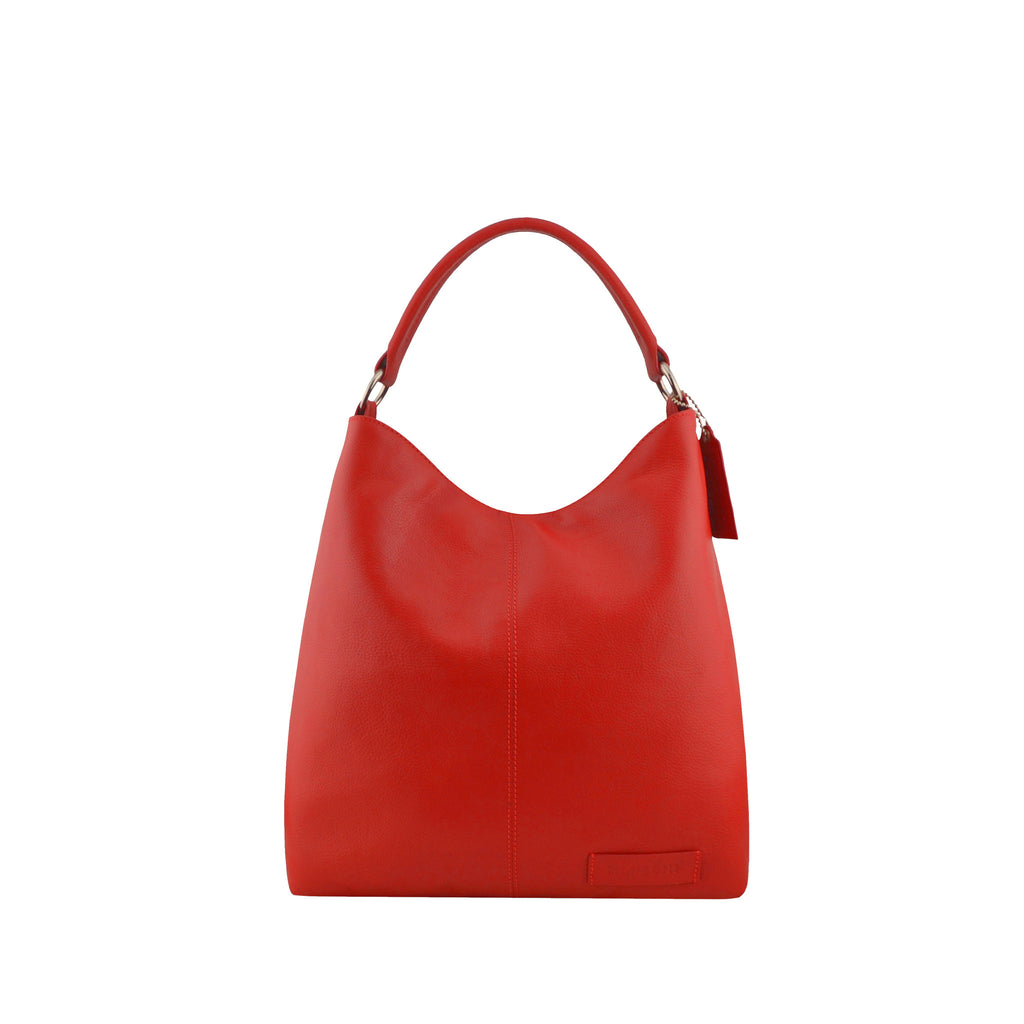 Red Leather Zippered Shoulder Bag - N15