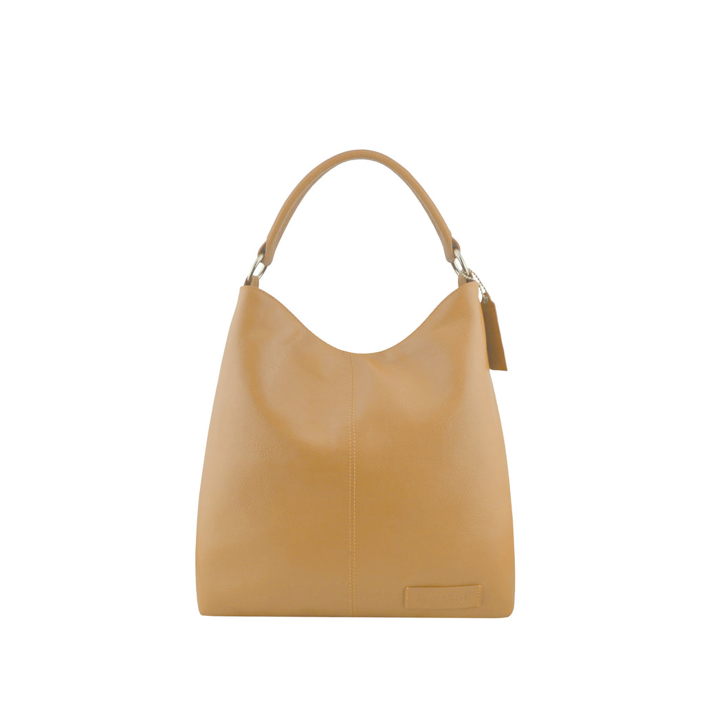 Camel Leather Zippered Shoulder Bag - N15