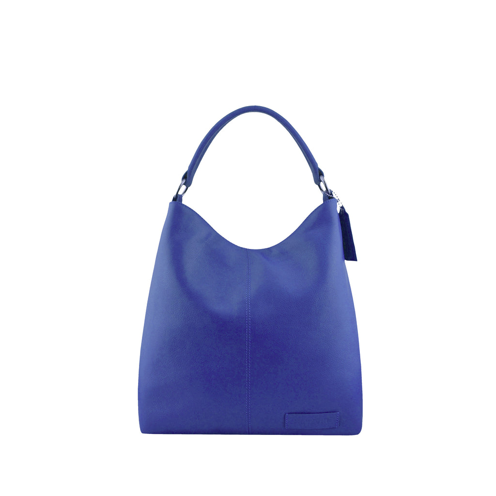 Navy Leather Zippered Shoulder Bag - N15