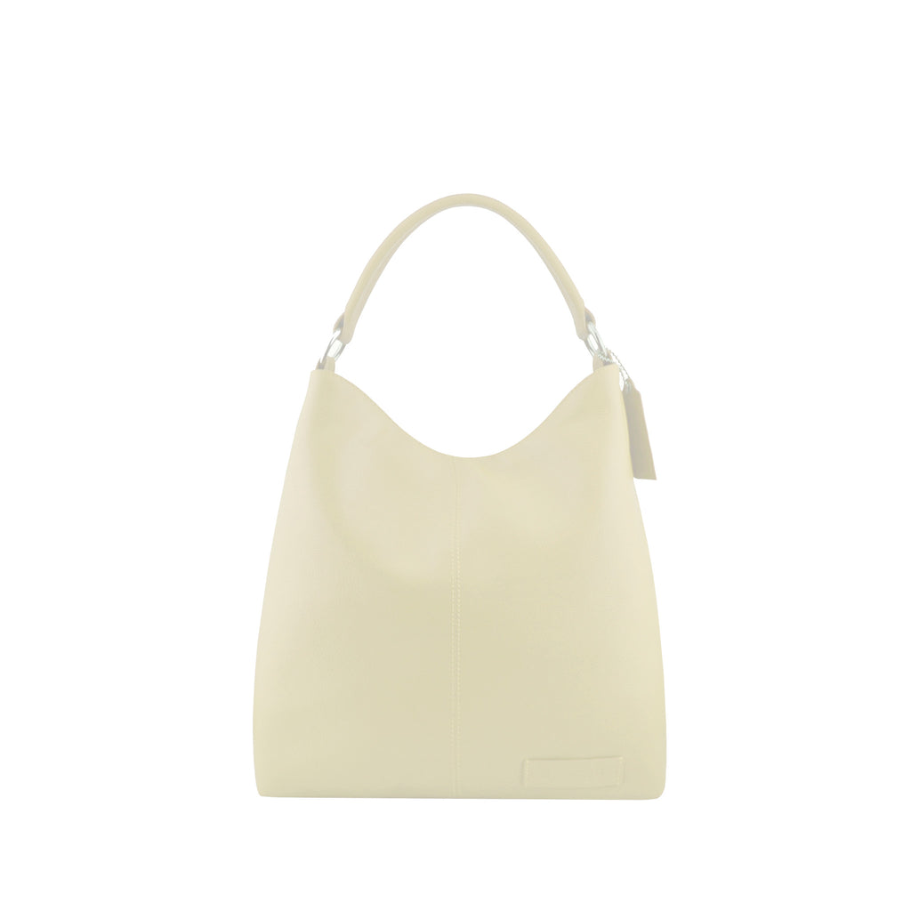 Ivory Leather Zippered Shoulder Bag - N15