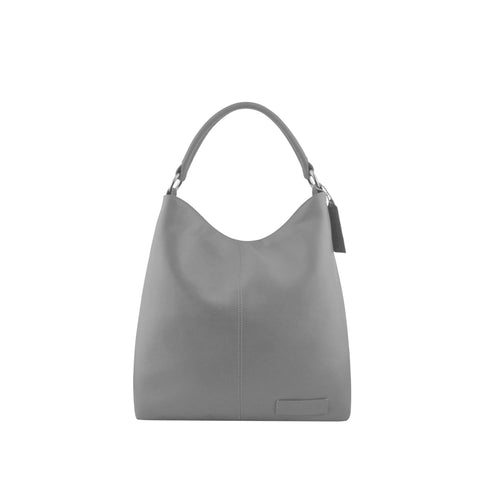 Grey Leather Zippered Shoulder Bag - N15